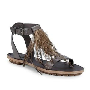 BRUNELLO CUCINELLI Feather Ankle-strap Sandals-NEW